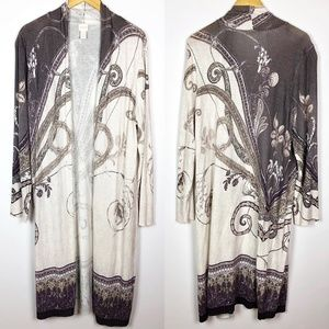 Chicos Dusty Purple Print Duster Kimono Cardigan